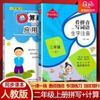 看拼音写词语生字注音+口算题卡应用题二年级上册人教版版