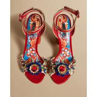 夏季粗跟真皮露趾凉鞋民族风网红同款高跟凉鞋拼色女鞋夏 红色