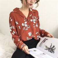 2018春装韩版新款气质花朵西装领衬衫衬衣宽松长袖单排扣上衣女装