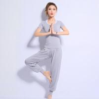 瑜伽服套装女 夏季运动 莫代尔舞蹈健身房瑜珈 宽松灯笼裤三件套