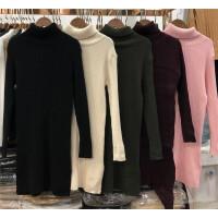 P5高领中长款套头毛衣裙女装秋冬季新款 针织衫打底连衣裙0.5