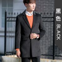 冬季新款毛呢大衣男中长款青年男士羊毛呢子外套帅气修身黑色潮流