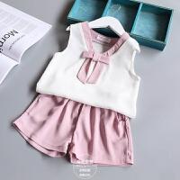 女童套装夏季新款童装女宝宝雪纺蝴蝶结背心+短裤套