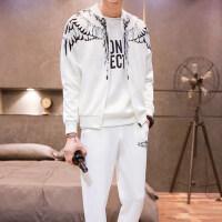 时尚潮流休闲套装男士大码连帽卫衣长裤两件套 新款青少年跑步运动一套学生棒球服