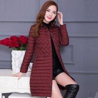 棉衣女中长款2017冬装新款韩版修身薄款中年女士轻薄棉袄外套