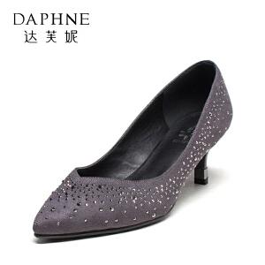Daphne/达芙妮女单鞋中跟细跟水钻浅口鞋
