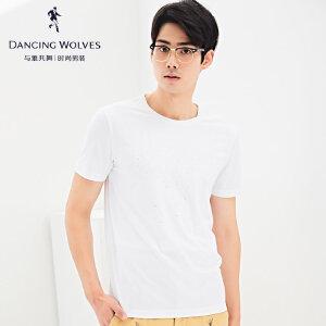 与狼共舞短袖T恤男2017夏季新品圆领时尚贴片短t男士T恤衫379406226