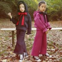 儿童套装连帽卫衣冬韩版中大童亲子母女加绒加厚阔腿裤套