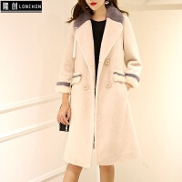 羊剪绒大衣女新款拼接水貂中长款潮特价冬仿皮草外套显瘦