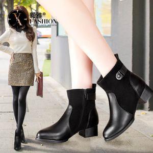 【满200减100】毅雅女鞋秋冬新款英伦风潮时装女靴中跟粗跟马丁靴女百搭踝靴