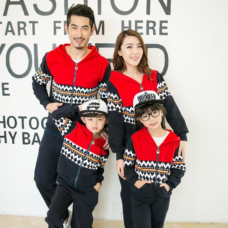 全家装一家三口母女母子运动开衫外套装新款韩版亲子装秋冬装