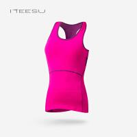 瑜伽服背心女秋冬运动跑步健身紧身上衣无袖长款带胸垫T107 玫红