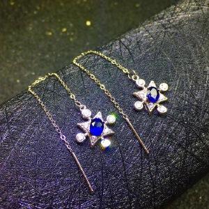 天然斯里兰卡蓝宝石耳线,火彩爆闪,四大宝石之一!