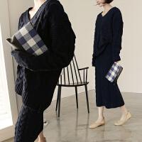 秋冬新款中长款针织连衣裙女韩版套装裙长袖宽松毛衣打底裙两件套