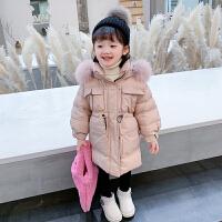 2021新款女童羽绒服中长款儿童装毛领杜邦三防女宝宝小童加厚外套