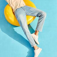 A21男装弹力修身低腰小脚九分裤 2018夏季新品潮男帅气个性牛仔裤
