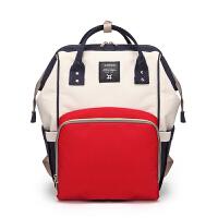 宝妈包外出时尚母婴包多功能大容量妈妈背包双肩包旅行妈咪出行包 红白蓝大号 升级版