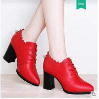 莱卡金顿新款女鞋高跟粗跟工作鞋韩版尖头小皮鞋女单鞋春夏季潮鞋子女JBBN1618