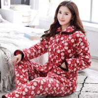 韩版睡衣女加厚三层夹棉睡衣法兰绒珊瑚绒棉袄家居服大码