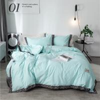 水洗棉床品四件套纯棉全棉欧式气质简约纯色北欧双人1.5m床