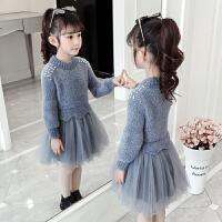 女童毛衣裙子秋冬冬季纱裙洋气公主裙儿童连衣裙冬裙