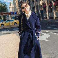 实拍 英伦格调 时尚条纹撞色加厚修身收毛呢大衣女秋冬羊毛呢外套 藏青色