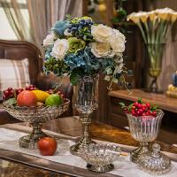 家居 新古典欧式软装饰品摆件玻璃果盘花瓶摆设样板房时尚果盆果斗