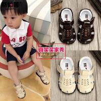 斯纳菲宝宝鞋子学步鞋夏季防滑软底真皮婴儿凉鞋男童鞋透气1-3岁