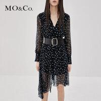 MOCO显瘦复古V领超仙飘带真丝碎花法式连衣裙MA183DRS104摩安珂