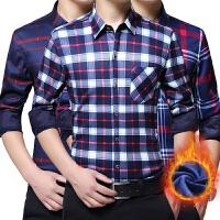 男士衬衫长袖韩版修身格子秋冬季商务休闲加绒加厚保暖衬衣大码潮
