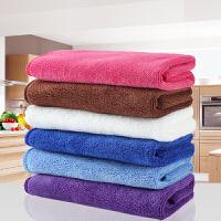 办公用加厚擦地布超细纤维洗碗布毛巾厨房不沾油抹布带挂绳.