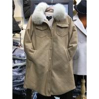 K2新款秋冬韩版加厚棉袄 羊羔毛大衣中长款皮毛一体外套女1.6