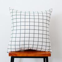 清新现代简约抱枕格子床头沙发靠垫靠枕抱枕套不含芯靠背定制 抖音