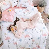 田园公主风四件套纯棉小清新学生宿舍三件套全棉床单被套床上用品 2.0m(6.6英尺)床 床单款套件