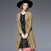 秋冬新款欧美单排扣加长款女士风衣气质修身大衣外套6109