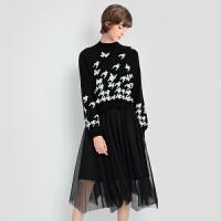 【2件3折 折后价:199】LILY女装经典优雅黑白撞色大千鸟格上下两件套连衣裙