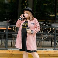 2017新款大码女装毛呢圆领罗纹袖口棒球服胖妹妹秋冬装外套 粉红色 5码 / XL