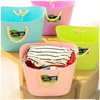 寝室大号软塑料棉绳脏衣篮时尚收纳篮衣服储物筐脏衣桶 绿色V6102