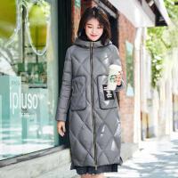 高梵时尚连帽白鸭绒羽绒服女中长款2017冬季新款 韩版保暖外套潮