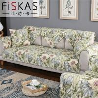 棉布艺沙发垫四季通用田园坐垫防滑沙发套实木沙发罩巾aytf定制 百合