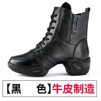 真皮舞蹈鞋女软底水兵舞靴子 广场跳舞女鞋中跟2017新款 黑色