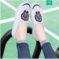 古奇天伦平底帆布单鞋乐福鞋小白鞋春季新款百搭韩版社会女鞋EV08926