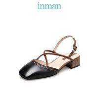 茵曼鞋春秋单鞋粗跟一字带单鞋穆勒鞋小ck玛丽珍高跟鞋奶奶鞋