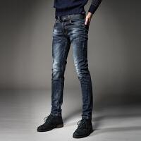 男装复古破洞牛仔裤男士秋冬款韩版修身做旧弹力小脚裤 蓝色