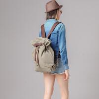 欧美风帆布包潮 男女学生书包双肩包学院风背包大容量休闲包
