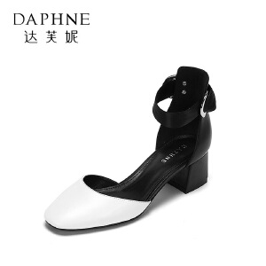 Daphne/达芙妮 春夏时尚拼色浅口单鞋 优雅丝绸系带粗跟高跟鞋