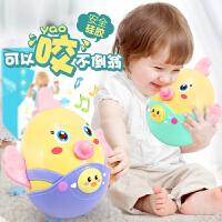 不倒翁玩具摇铃软硅胶牙胶0岁儿童孩子男孩女0-6-12个月宝宝