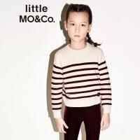 littlemoco秋冬新品男女童毛衣红蓝白条纹长袖套头羊毛衫针织毛衣