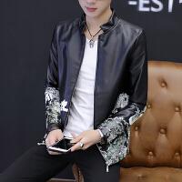 男士皮夹克青少年秋季韩版修身个性印花机车皮衣男帅气中国风外套