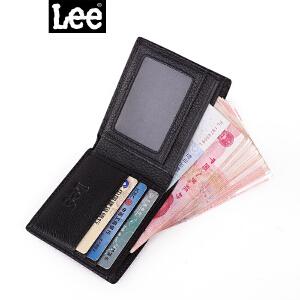 Lee真皮钱包 潮流时尚真皮男女短款牛皮钱包二折钱夹手包卡包